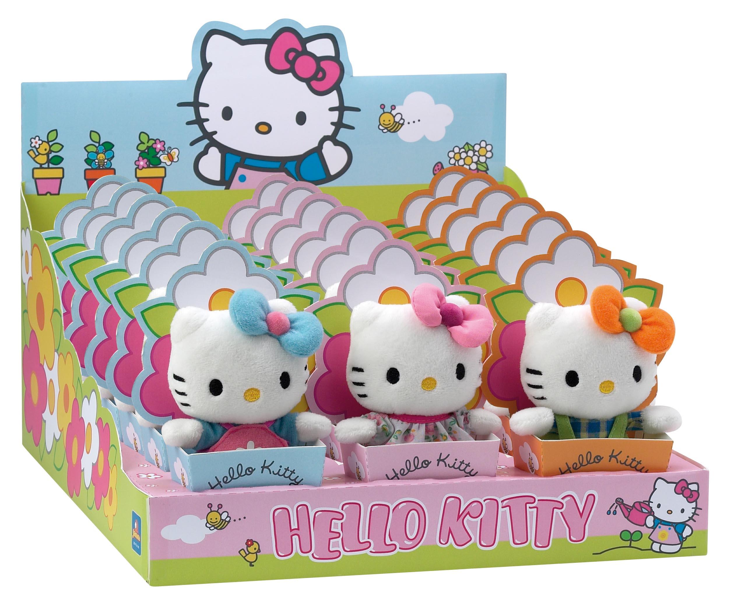 Мягкая игрушка Hello Kitty 12 см в цветочном горшке 3 вида в ассортименте в дисплее (AT-021873)